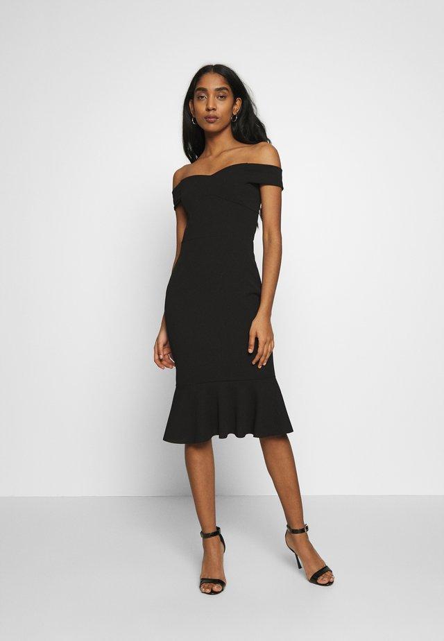 BARDOT FRILL HEM DRESS - Juhlamekko - black