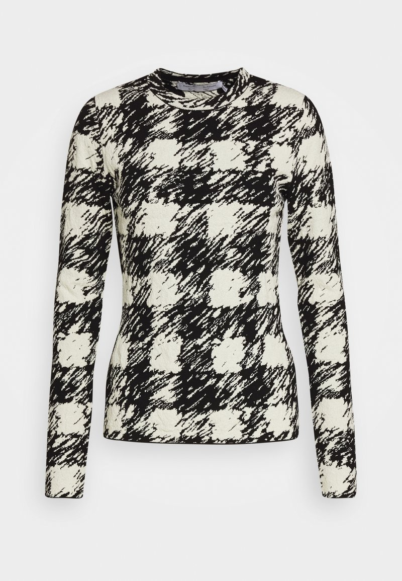 Proenza Schouler White Label - GINGHAM LONG SLEEVE - Neule - black/cream