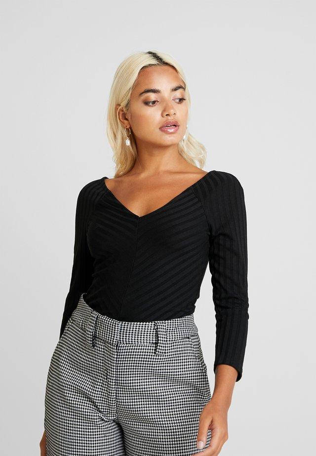 ONLGINA V-NECK - Maglietta a manica lunga - black