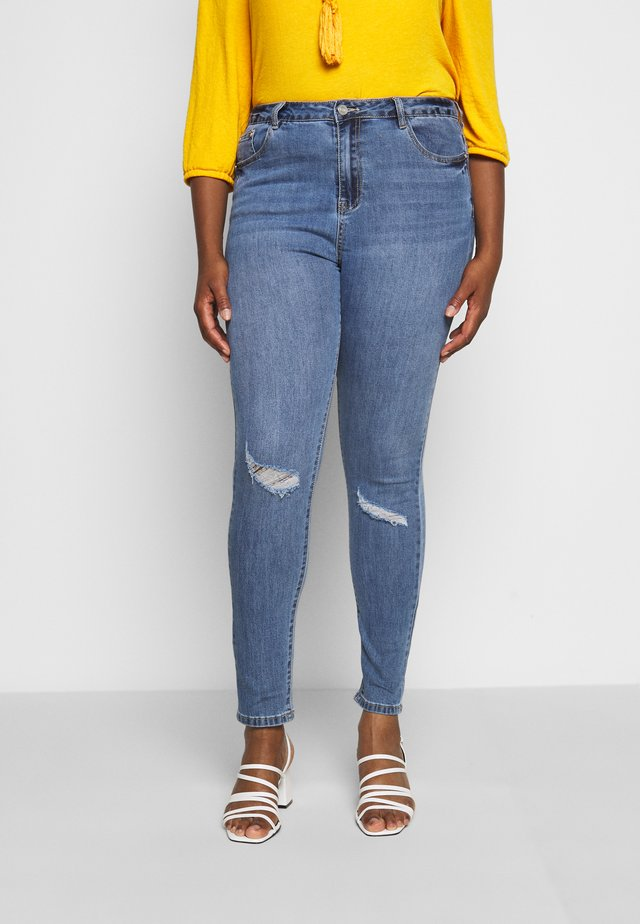 SINNER RIP HIGH WAISTED BACK SEAM DETAIL - Jeansy Skinny Fit - vintage wash