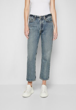 LANA CROP - Straight leg jeans - emulsion/medium indigo