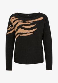 black placed intarsia knit