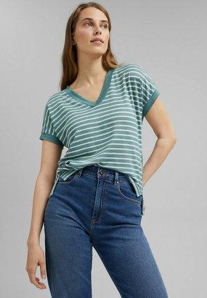 MIT STREIFEN - T-shirt print - dark turquoise