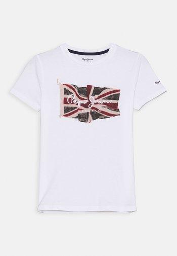 FLAG LOGO  - Print T-shirt - optic white