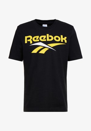 VECTOR TEE PRINT - Print T-shirt - black/toxic yellow