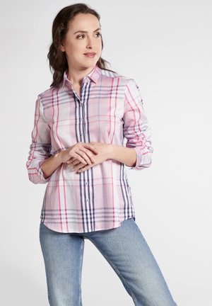 Button-down blouse - pink/blue/white