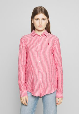 RELAXED LONG SLEEVE - Button-down blouse - red/white