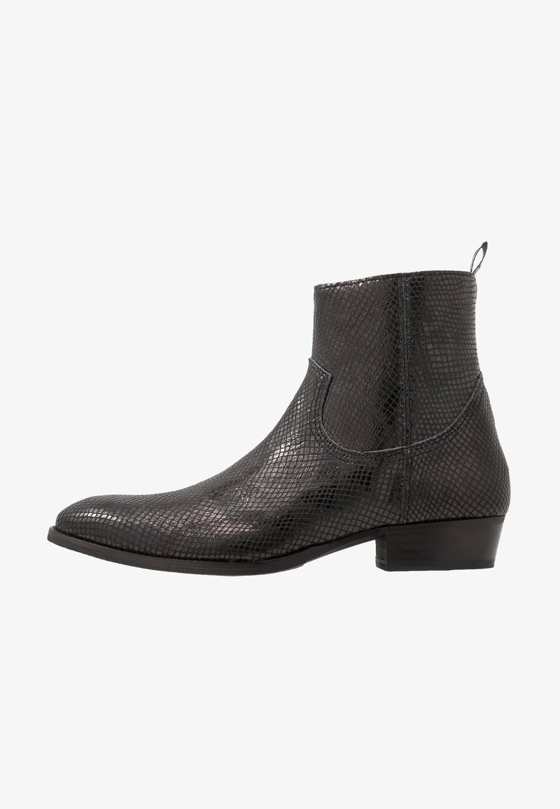 Society - YAGER - Cowboy/biker ankle boot - black lizard