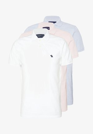 MULTIPACK 3 PACK - Poloshirts - white/ sepia rose/ blue heather