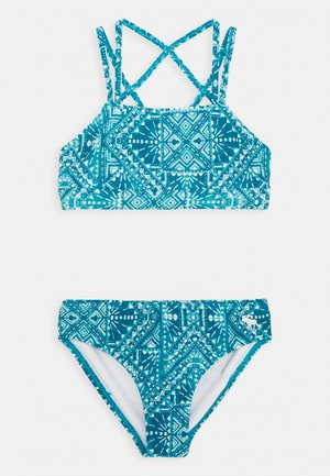 TWIST FRONT HI NECK  - Bikini - blue