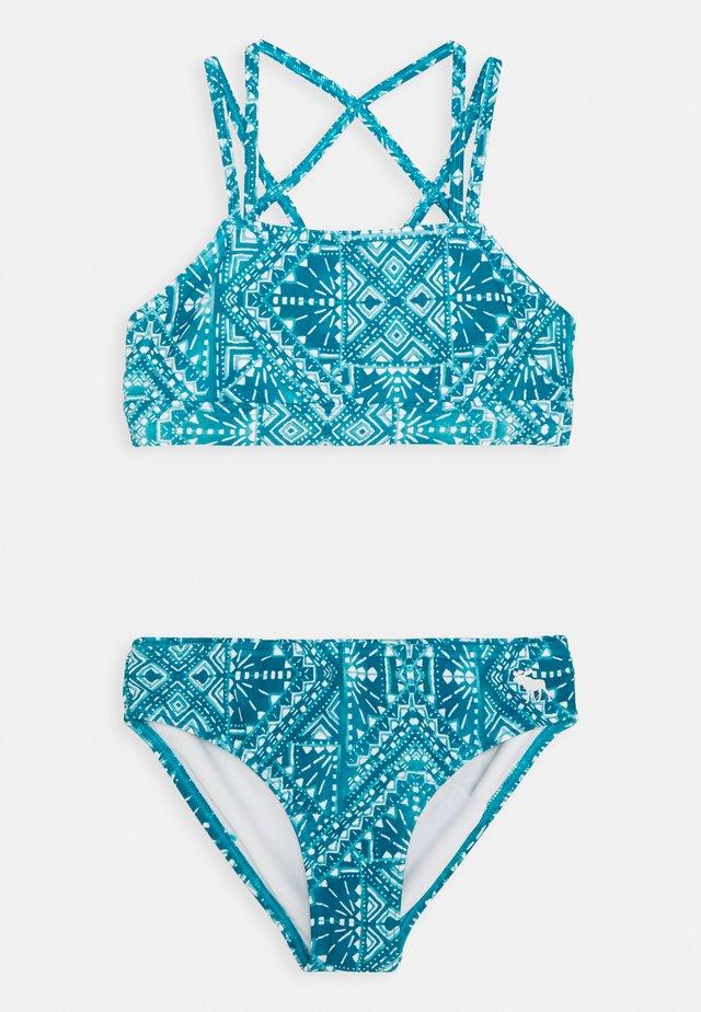 TWIST FRONT HI NECK  - Bikini - blue