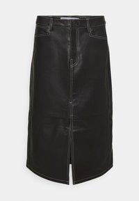 STRAIGHT SKIRT - Leather skirt - black
