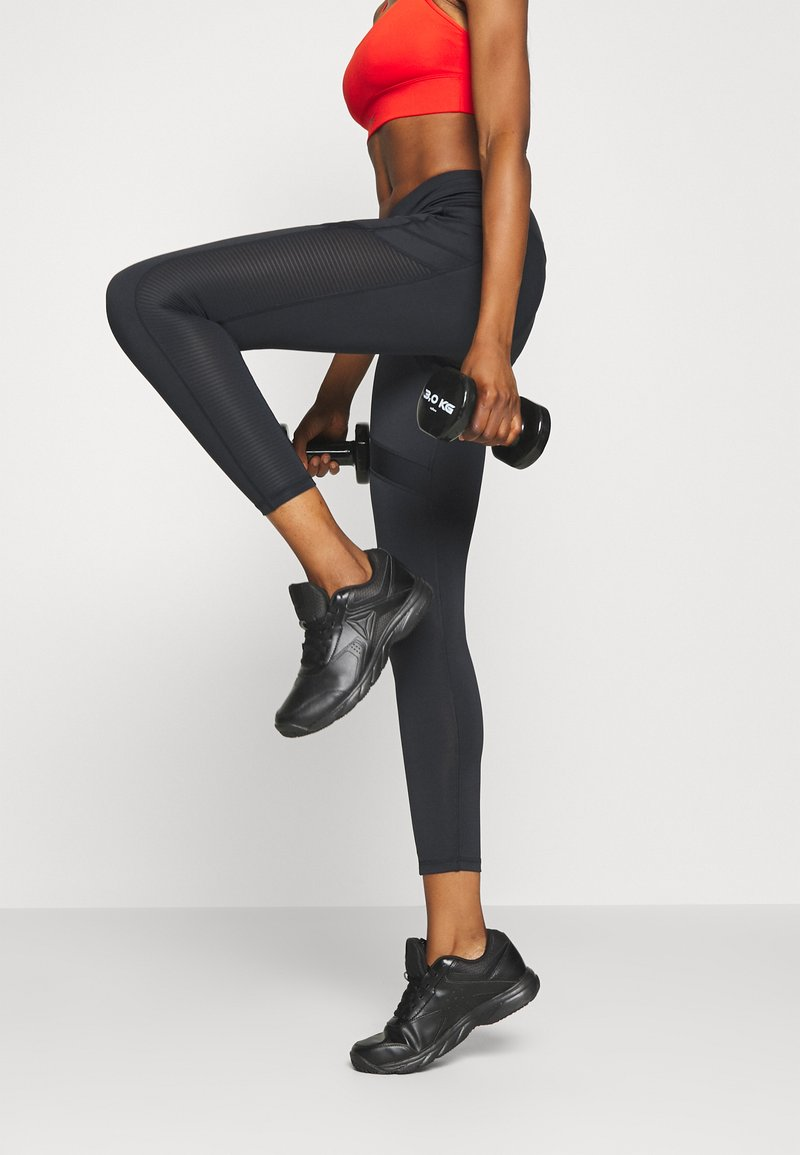 Reebok - WORKOUT READY MESH TIGHTS - Tights - black