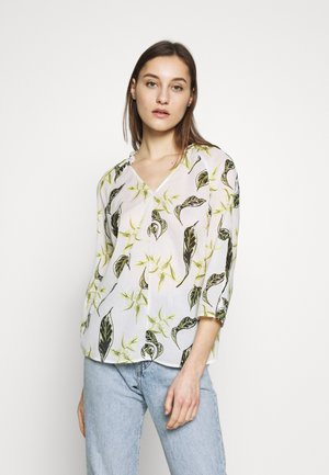 BLOUSE, V-NECK, LONG SLEEVED, FEMININE DETAILS AT BACK, ORGANIC  - Blůza - multi-coloured