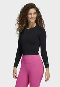adidas Performance - FORMOTION CROPPED TRAINING TEE - Long sleeved top - black - 0