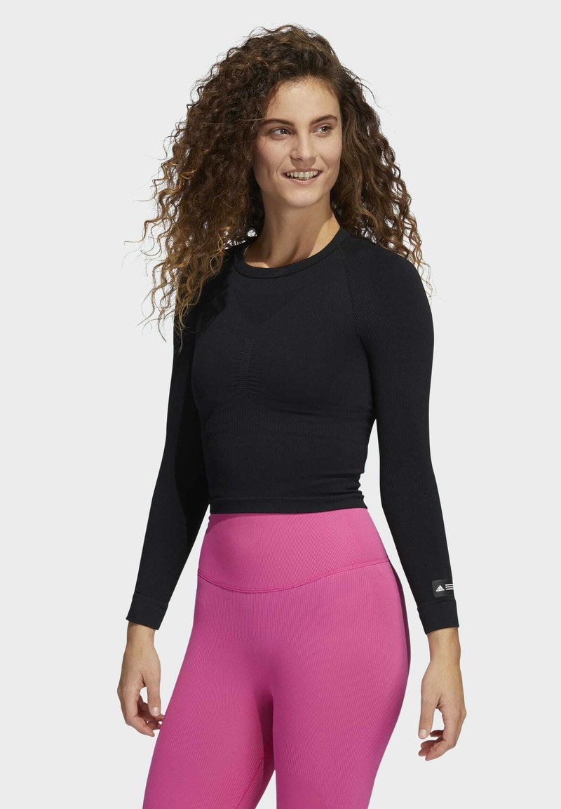 adidas Performance - FORMOTION CROPPED TRAINING TEE - Long sleeved top - black