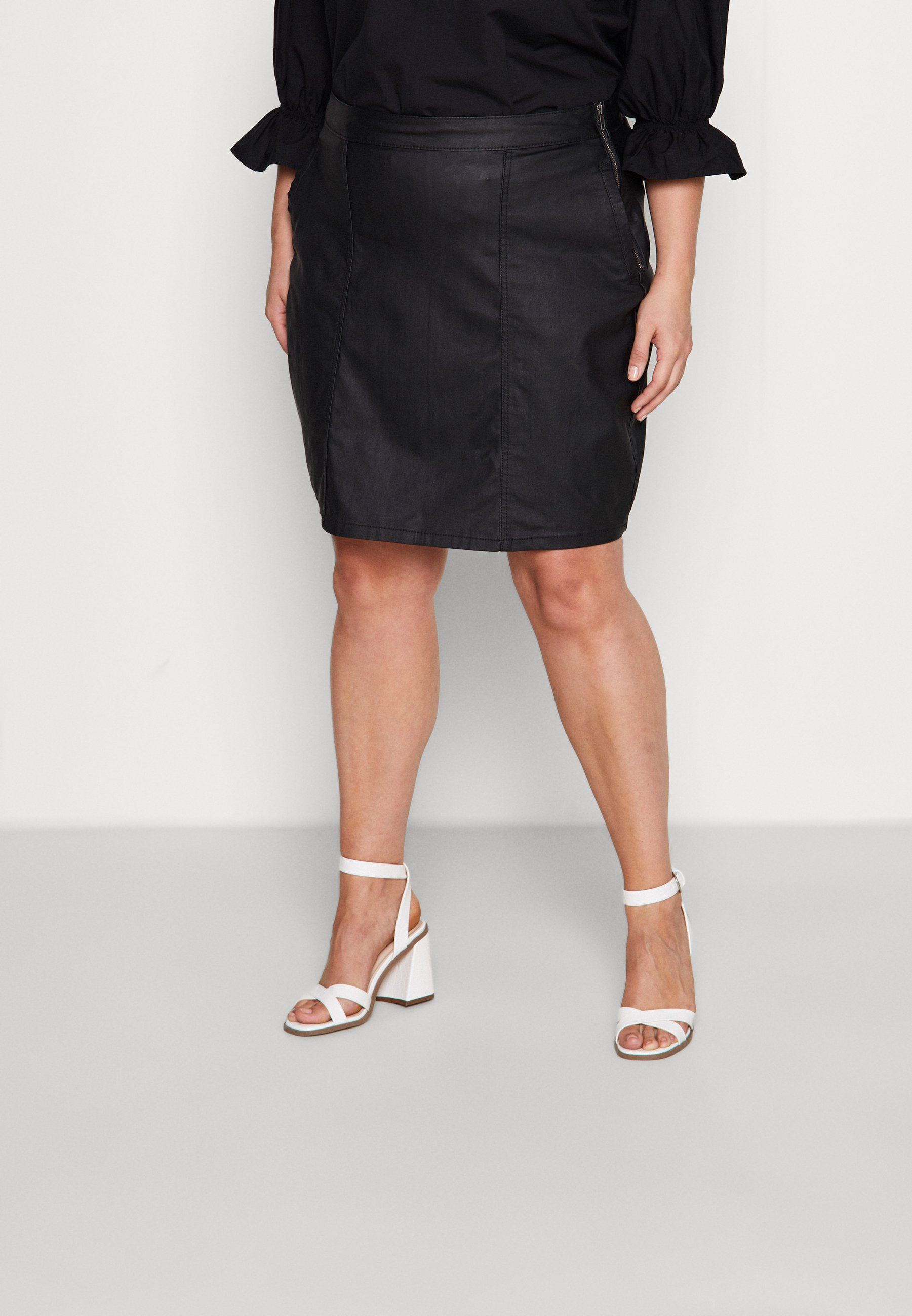 Femme NMPERI COATED SKIRT - Jupe crayon