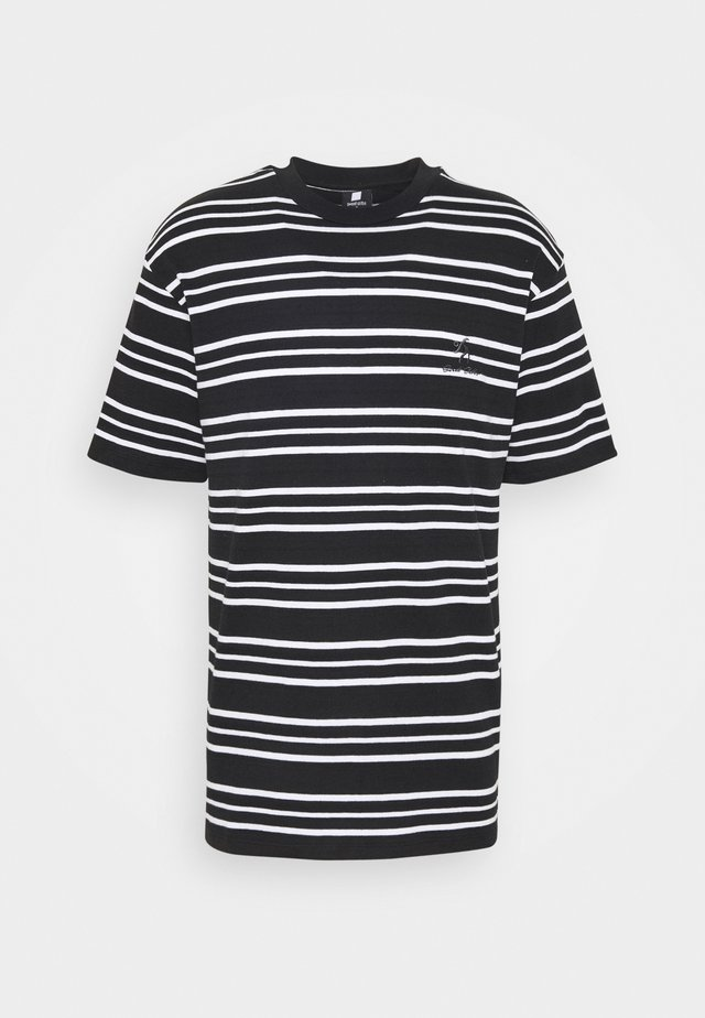 90S LOOSE STRIPED TEE UNISEX - Camiseta estampada - black/white