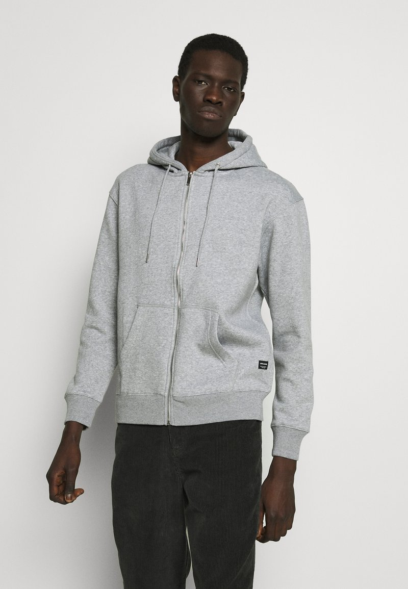 Jack & Jones - JJESOFT ZIP HOOD - Mikina na zip - light grey melange/relaxed