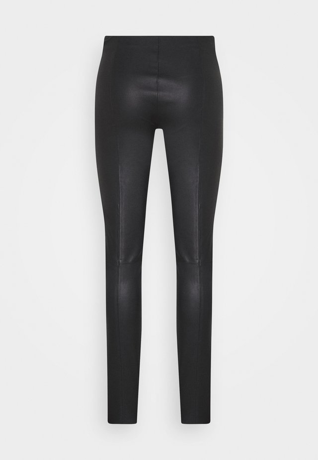 STRETCH LEATHER - SHAMAR - Leather trousers - black