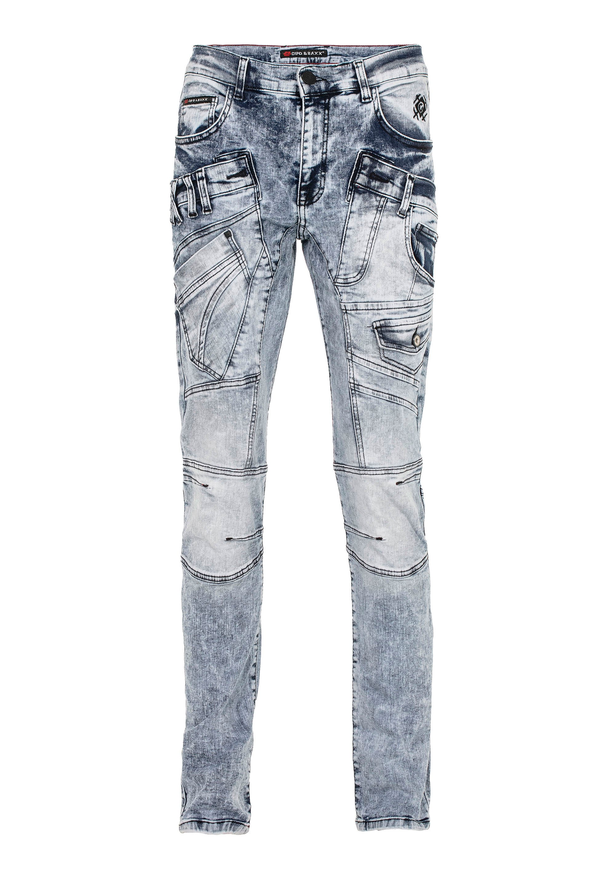 Cipo & Baxx Frosted - Slim Fit Jeans Blau