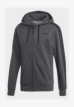 ESSENTIALS 3-STRIPES FLEECE HOODIE - Sweatjacke - grey