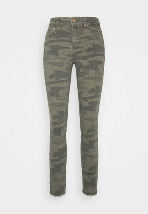 ONLBLUSH LIFE MID RAW CAMO - Jeans Skinny Fit - deep lichen green/grape leaf