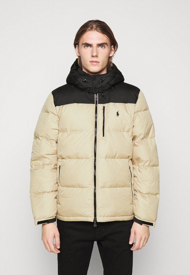 JACKET - Down jacket - tan/dark blue