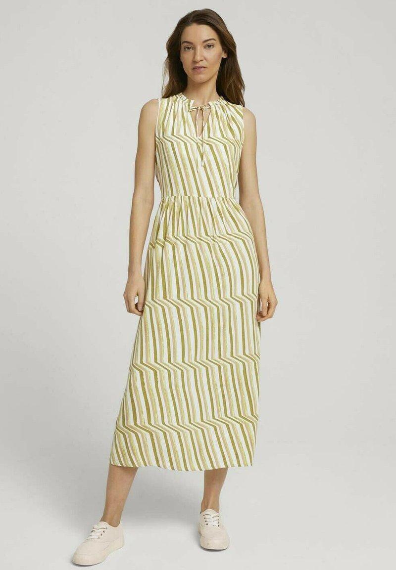 TOM TAILOR - Day dress - green watercolor stripe