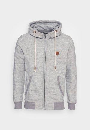 JPRBLUDAN ZIP HIGH NECK HOOD - Zip-up sweatshirt - light grey melange
