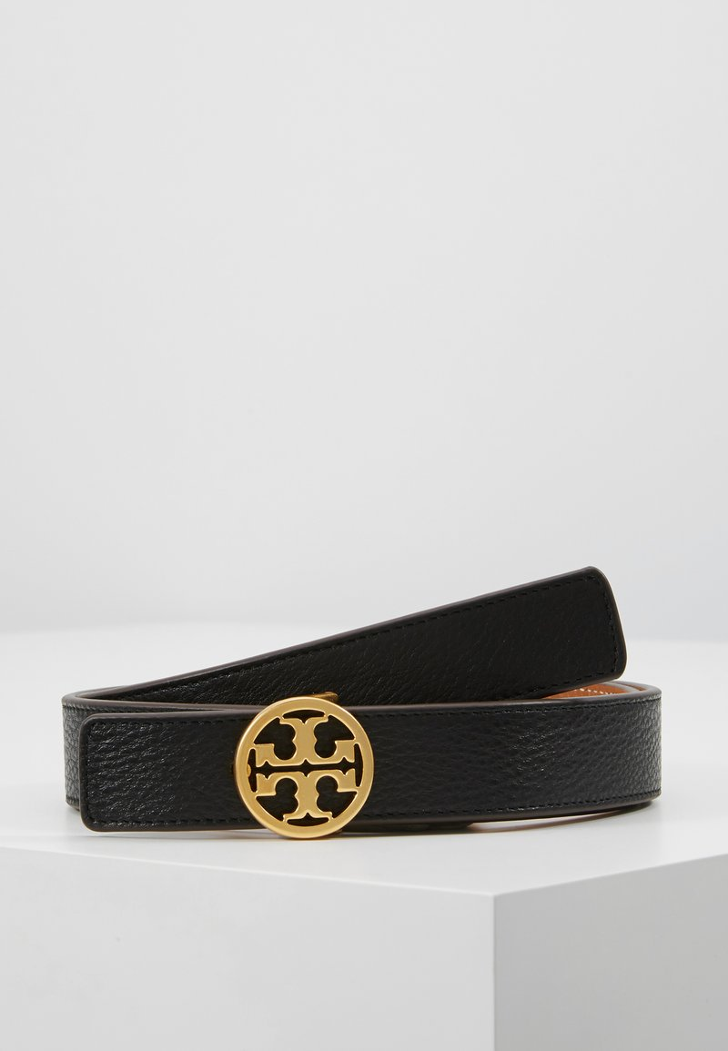 Tory Burch - REVERSIBLE LOGO BELT - Pásek - black/gold-coloured