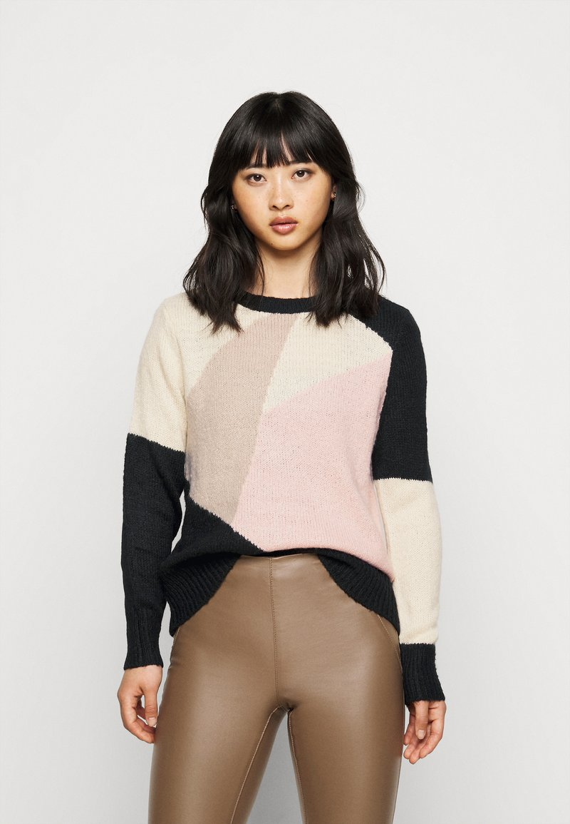 ONLY Petite - ONLMARCIL O-NECK PETIT - Jumper - black/almond milk/simply taupe/rose