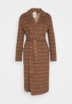 DOUBLE FACE LONG WRAP COAT REVERSIBLE PLAID - Mantel - camel