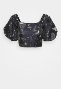 Missguided - COSTELLO ASTRO PUFF SLEVE CROP - Print T-shirt - navy - 3