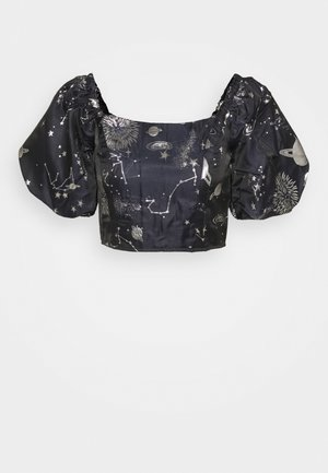 COSTELLO ASTRO PUFF SLEVE CROP - T-shirt print - navy
