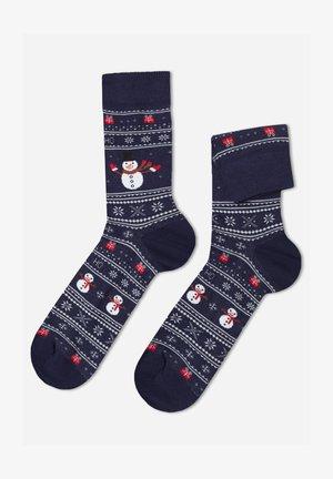 Socks - blue snowman