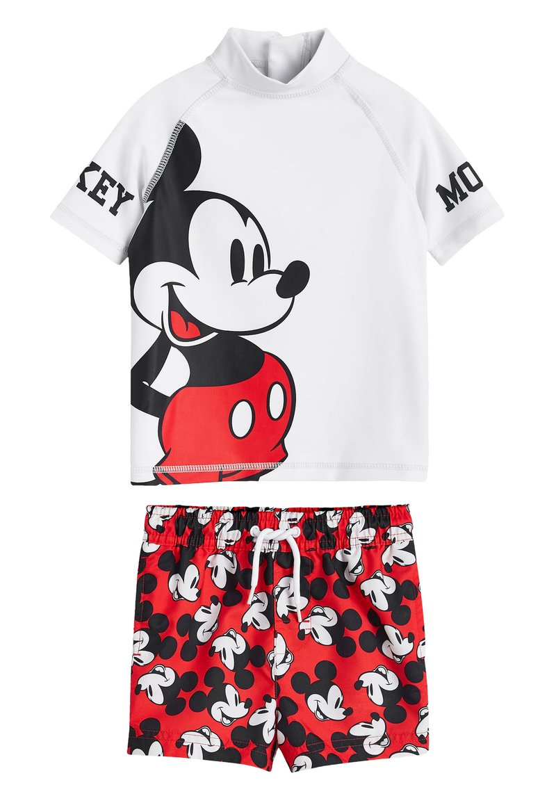 Next - RED MICKEY MOUSE RASH VEST AND SHORTS SET (3MTHS-8YRS) - Short de bain - red