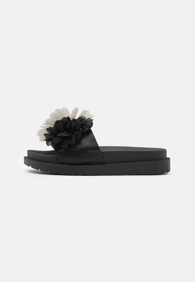 SLIDE WIDE FIT SOLE FLOWERS - Muiltjes - black