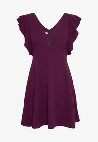 WAL G PETITE - FRILL SLEEVES V NECK FIT AND FLARE DRESS - Denní šaty - plum - 3