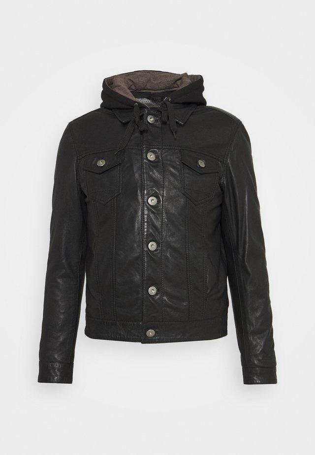 JEAN DELETION LIST - Leather jacket - black