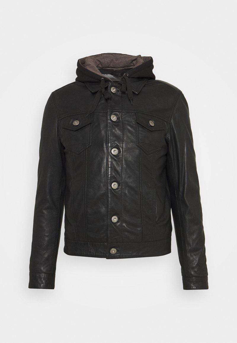 Serge Pariente - JEAN DELETION LIST - Leather jacket - black