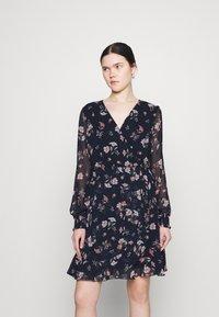 Vero Moda - VMZALLIE WRAP DRESS - Day dress - navy blazer/zallie - 0