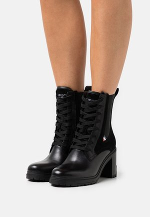 OUTDOOR LACE UP BOOT - High heeled ankle boots - black