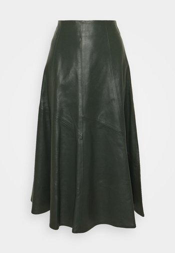 SKIRT MIDI - Leather skirt - iris leaf