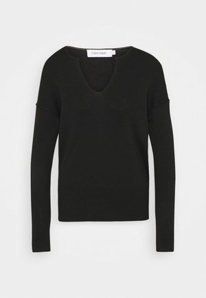LOGO OPEN NECK  - Jumper - black
