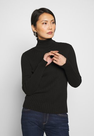 LONGSLEEVE TURTLE NECK STRUCTURE - Jumper - black