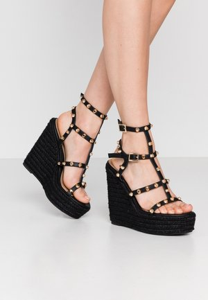 DOME STUD WEDGE - High heeled sandals - black