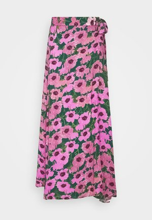 BOBO SKIRT - Wrap skirt - bottle green/fuchsia