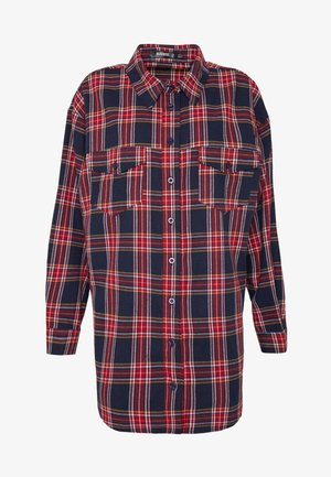 BRUSHED BASIC CHECK SHIRT - Button-down blouse - navy