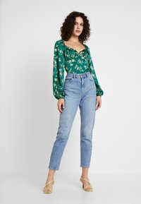 Missguided - FLORAL MILKMAID BODYSUIT - Blus - green - 1